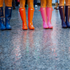 scintilla10: line-up of colourful rainboots (Stock - rainboots)