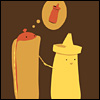 kindkit: Hot dog walking hand in hand with mustard but thinking of ketchup. (Fandomless: Hot dog/ketchup OTP)
