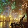 kindkit: A riverside bench with fireworks in background (Fandomless: Fireworks)