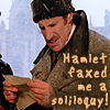 kindkit: Horatio (Nicholas Farrell) reads Hamlet's letter, text: Hamlet faxed me a soliloquy! (Hamlet: Horatio gets a fax)