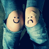 manifestjoy: Ripped jeans with happy and sad knees (other - happy-sad knees)