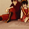 inkstone: Avatar: The Last Airbender's Zuko and Toph seated on the floor (bonding time)