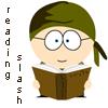 sarkka: southpark Daniel Jackson text reading slash (Danny reading slash)