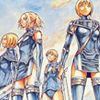 inkstone: Claymore's Clare, Miria, Helen & Cynthia in black leather (the magnificent 7)