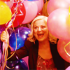 metatxt: leslie knope, a yellow-haired female, surrounded by balloons and gazing with adoration (parks: yay! balloons!)