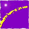 onyxlynx: purple background, curved broken horizon line, flare symbolizing sun (Planet Purple)
