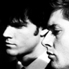 scarlett_o: Black and white image of Sam and Dean from Phantom Traveler (Default)
