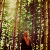 flamingchemist: a girl looks up at a forest (forest)