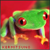 anatsuno: a cute acid green frog on a very red leaf: kermitsuno (frog)