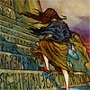 skygiants: fairy tale illustration of a girl climbing a steep flight of stairs (mother i climbed)