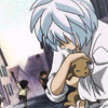 skygiants: Mytho from Princess Tutu cuddles a puppy while baby Fakir flails at villains with a stick in the background (tiny puppy)