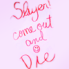"softestbullet: Harmony's pink handwritten note: ""Slayer! Come out and die."" (BtVS/ in harm's way)"