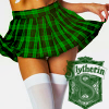 chokolattejedi: Photo of bottom half of girl in green plaid skirt, Slytherin crest in corner (HP - Slythy)