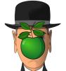 arjache: (art, apple, son of man, magritte, drawing)