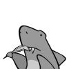 arjache: (the pen is mightier than the sword, shark pen)