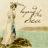 "acrossthefloors: A lady in a regency dress overlooking the ocean, with text ""Beyond the sea."" (somewhere beyond the sea)"