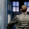 anatsuno: the ninth doctor, seen from behind as he opens the doors to a normal blue police box (sometimes a box is just a box)