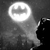 shallowness: Catwoman looking at the Batsign in the Gotham City night sky (Catwoman watching Batverse films)
