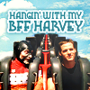 "metatxt: john crichton rides rollercoaster with ""harvey"" his head!version of scorpius, nemesis alien with s+m gimp fashion (far: hangin with my bff harvey)"
