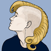 ambrmerlinus: Portrait of a young white man with a flowing blond mohawk, in profile. (Default)