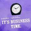 """sunspot: text on purple background """"aww yeah it's business time!"""" (business time!)"""