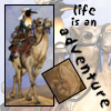 "ambyr: a penguin riding a camel through the desert, captioned, ""life is an adventure"" (digital painting by Ursula Vernon) (Adventure)"