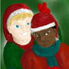 jlh: Seamus and Dean in santa hats (SD Santa Hats)