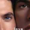 jlh: white man, black man, faces together (SD-like love)