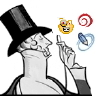 the_shoshanna: the New Yorker-logo monocle guy peers at DW, LJ, IJ icons (inspecting all journals)