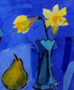 abka: painting of daffodils and pear (daffodils and pear, flowers pear)