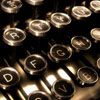 jlh: closeup of typewriter with black keys (typewriter black)