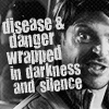 jlh: STXI Bones saying disease & danger wrapped up in darkness & silence (Bones on space)