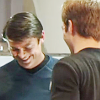jlh: Jim making Bones laugh (KMc shyly laughing)