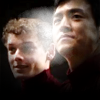 jlh: Chekov and Sulu smiling, with a lens flare between them (st: Chekov and Sulu)