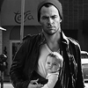 jlh: manip of Chris Pine with a baby in a snugli (Jim and David)