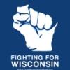 "meimichan: WI in the shape of a fist, text ""Fighting for WI"" (Wisconsin)"
