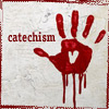 catechism: dripping blood-red hand graffiti on an off-white wall, with a heart in the center of the palm. (Default)