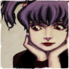 ghoti: girl with purple pigtails and chin resting on her hands (goth pigtails)