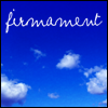 "firmament: A blue sky with clouds and the word ""firmament"" in white letters. (Default)"