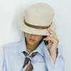 isah: Photograph of a young person in a dress shirt and tie with a hat over his/her eyes. (Default)