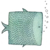 bismuthine: A square blue fish (blue, fish, square)