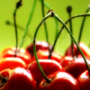 strina: stock icon of cherries against a green background - default icon (creepy cartoon girl)