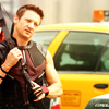 jlh: Clint in armor with bow and quivver and a taxi behind him (avengers: Clint and a taxi)