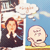 """tree: scully on the left with her chin in her hands and charlie brown on the right; the word """"sigh"""" is above their heads ([xf] sure. fine. whatever.)"""