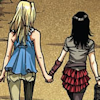 alixtii: Nico and Karolina holding hands. (Runaways)