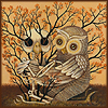 klgaffney: detail of an owl embracing the skeleton of another owl that is being supported by a flowering shrub. (can't let go)