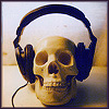klgaffney: a skull wearing earphones (music)