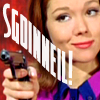 glinda: Emma Peel aiming a gun with the text 'sgoinneil' (avenging sgoinneil)