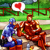 marinarusalka: Captain America and Iron Man on a date (comics: Cap and Tony dating)