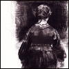 skygiants: Jane Eyre from Paula Rego's illustrations, facing out into darkness (more than courage)